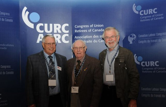 Left to right, CURC Past Presidents Larry Wagg and Dan McNeil pose with Pat Kerwin, CURC's new president, at the 2009 Convention.