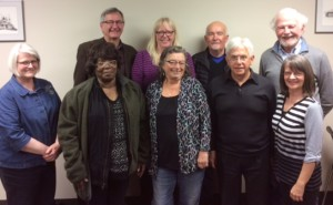 Front ( left to right): Karen Reay, member at large; Beryl Scott , vice-president; Susan Keeley, past president; Lucien Royer, president; Pat Couture, member at large Rear ( left to right) : Doug Meggison, treasurer; Karen Kennedy, secretary; Nick Lepora, member at large; Pat Kerwin, national president of CURC