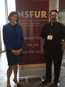 Dr. Cindy Forbes, president of the Canadian Medical Association and NSFUR President Larry Wark