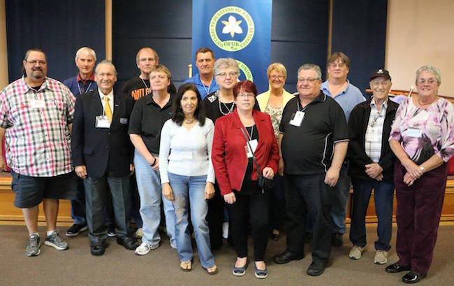 2016 OFUR Executive,back row left to right: William Lawson, SOAR; Malcolm Buchanan, OSSTF/ARM; Ted Hext, UNIFOR; Les MacDonald, UNIFOR; Fran Parry, OSSTF; Gord Assman, SOAR. Front  row, left to right: Julien Dionne, SOAR; Jean Simpson , UNIFOR; Maria Pinto,  UNIFOR; Suzanne Clancy, OPSEU; Mary Forbes, UNIFOR; Dennis Lafraniere, SOAR; Robert Sexsmith, UNIFOR; Joyce Cruickshank, SOAR. Missing: Bob Cruickshank, UNIFOR.