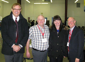 Left to right, Terry Mildenberger, Pharmicist, Southey, Saskatchewan; Martin Lingelbach, Mayor, Southey; Lynn Digney-Davis, Chief Nursing Officer, Government of Saskatchewan; and, Dr. Michael Rachlis.