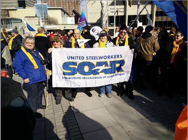 SOAR members at the March in support of Stelco pensioners.